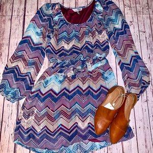 Long Sleeve Dress Striped Size Medium